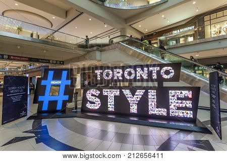 Toronto Canada - Oct 11 2017: Toronto Style Twitter Hashtag in the Eaton Centre mall in Toronto Canada