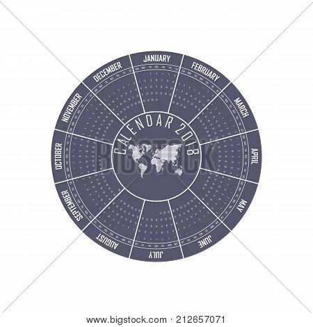 2018 Calendar Template.Circle calendar template.Calendar 2018 Set of 12 Months.Starts from Sunday.Vector illustration.