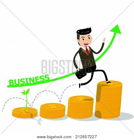 Financial growth success concept with happy businessman climbing on golden coins as step stair start from beginning till success. Business concept for growth success process. vector illustration EPS10