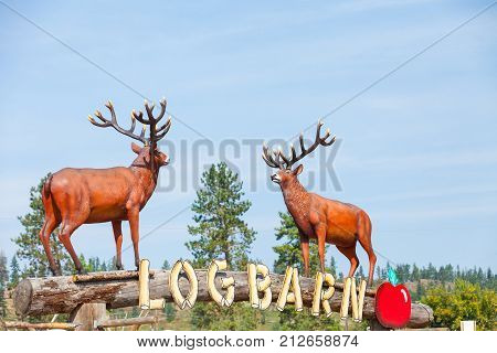 Vernon Canada August 2015: In summer tourists traveling along the Vermon Highway stop in this rest area to eat and photograph these wooden sculptures that are in the garden