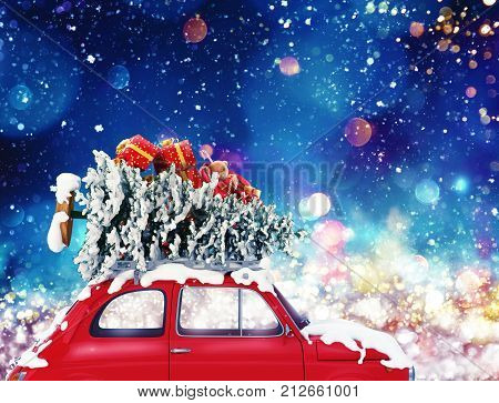 Vintage car with Christmas tree and presents with night light effect. 3d rendering