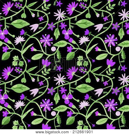 Seamless pattern with decorative purple vine flowers