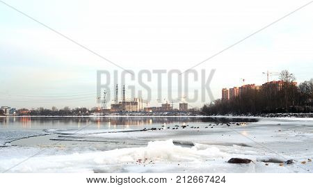 View of Neva River at at winter day on the outskirts of Petersburg Russia. poster