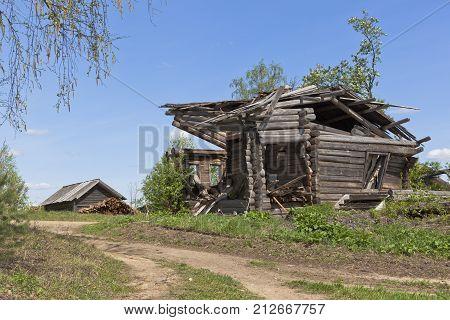 Ruins abandoned village. Village Zhavoronkova, Verhovazhskogo district, Vologda region, Russia