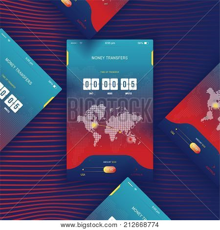 Modern UI. Mobile app for online transfer money with timer countdown. UX application and flat web icons with world map. Flat vector illustration EPS 10.