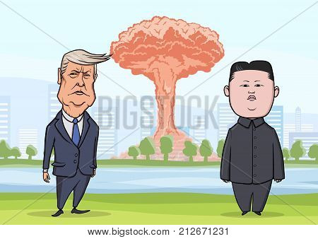 OCTOBER, 30, 2017: Donald Trump and Kim Jong-un in front of nuclear explosion on a city background. US President Trump and North Korea Supreme Leader Kim. Vector illustration, character portrait.