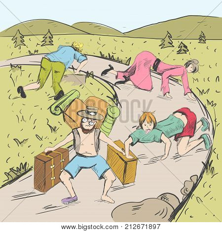 Comic strip. The end of a road is visible. Tired travelers are found a way from a mountains into civilization. People crawl on all fours and in tattered clothes. Sketch style. Vector illustration