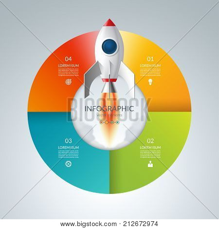 Vector infographic circle with 4 options. Business start up concept with launching rocket. Can be used for graph, cycling diagram, round chart, workflow layout, web design.