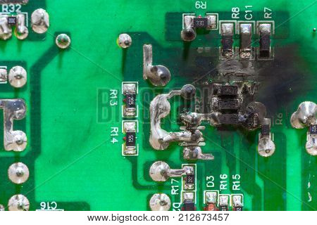 PCB circuit board electricity short circuit and burning