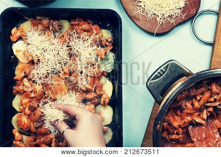Cooking Casserole In A Stewpan.