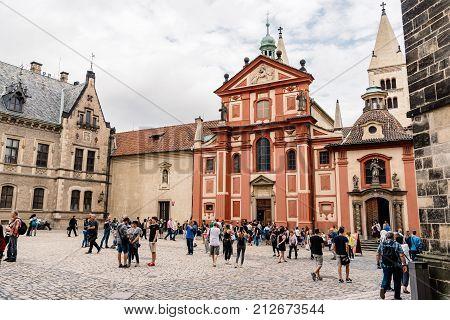 Prague, Czech Republic - August 19, 2017: Church of Saint George. It is the oldest surviving church building within Prague Castle. Outdoor view