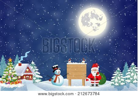 Santa Claus with gift bag and snowman and wooden sign against the the winter country landscape. Christmas and New Year greeting card.