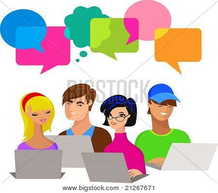 young people with speech bubbles and computers