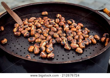 Roasted Chestnuts For Sale On A Market