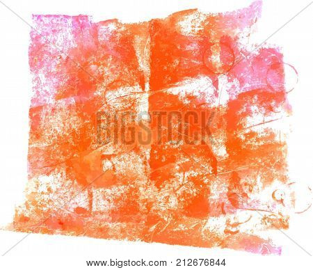 A vector background with vibrant pink and orange painterly brush strokes. An abstract artistic frame with a place for text