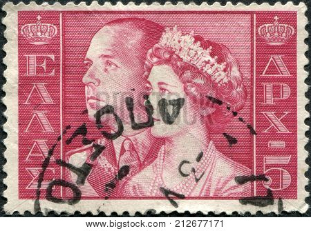 GREECE - CIRCA 1956: Postage stamps printed in Greece, shows King Paul I and Queen Frederica, circa 1956