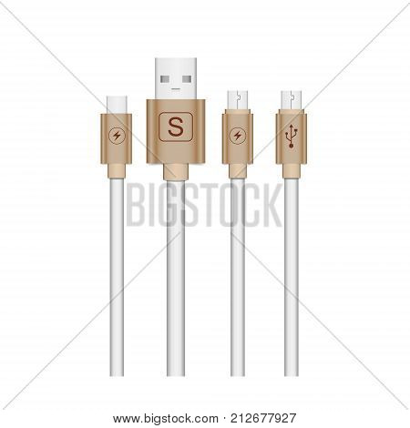 Micro USB cables icon isolated on white background. Connectors and sockets for PC and mobile devices. Computer peripherals connector or smartphone recharge supply.