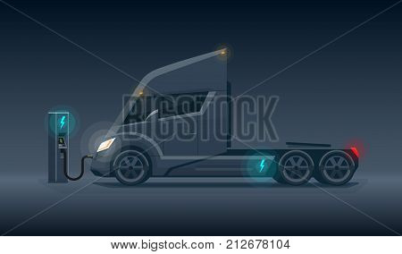 Dark Modern Futuristic Electric Semi Truck Charging At Charger Station