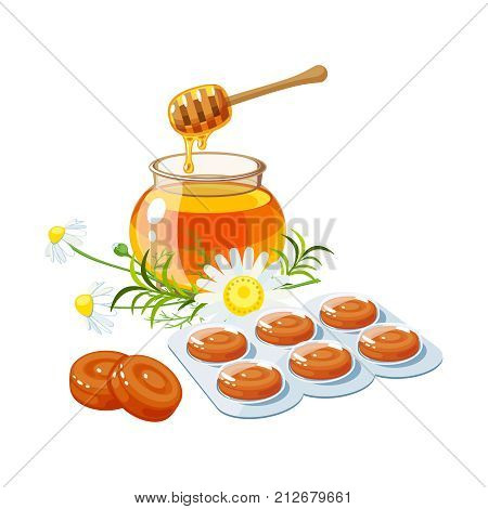Cough drops. Sore throat remedy package of lozenges herbs and honey. Vector illustration cartoon flat icon isolated on white.