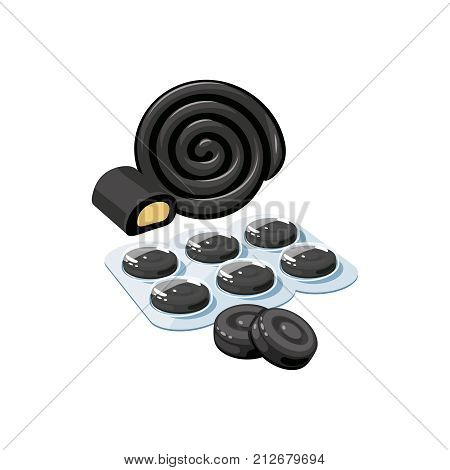 Cough drops. Sore throat remedy package of black lozenges licorice. Vector illustration cartoon flat icon isolated on white.