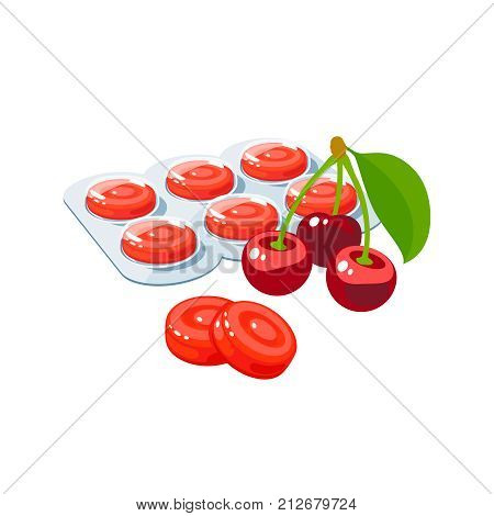 Cough drops. Sore throat remedy package of red lozenges wild cherry. Vector illustration cartoon flat icon isolated on white.