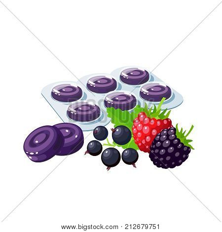 Cough drops. Sore throat remedy package of violet lozenges wild berries. Vector illustration cartoon flat icon isolated on white.