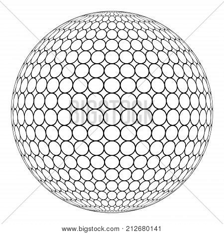 Globe 3D sphere with ring mesh on the surface, the vector of the round structure of the sphere