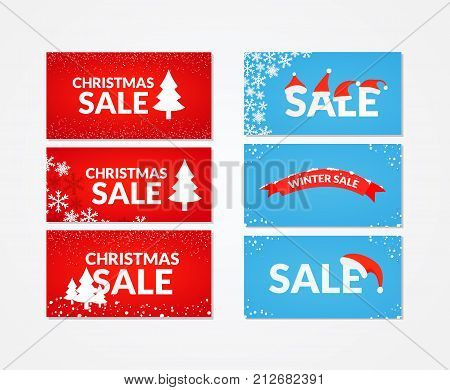 Collection of sale banners. Winter and Christmas sale offers. Closeout banners