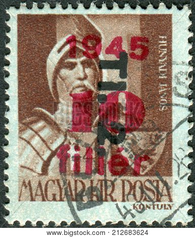 HUNGARY - CIRCA 1943: Postage stamp printed in Hungary (overprint 1945) shows John Hunyadi a leading Hungarian military and political figure in Central and Southeastern Europe during the 15th century circa 1943