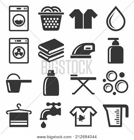Laundry and Housework Icons Set. Vector illustration