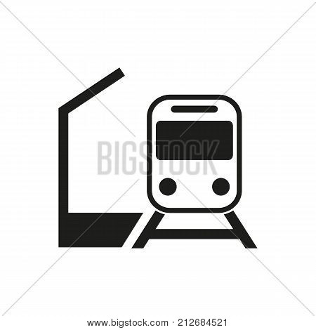 Simple icon of train and platform. Station platform, arrival, departure. Railway station concept. Can be used for topics like transportation, travel, transport