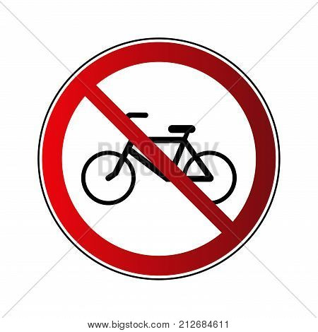 No bicycle sign. Forbidden red road sign isolated on white background. Prohibited no bicycle icon. No allowed bike button. Bicyclist warning icon. Restriction sign Vector illustration poster