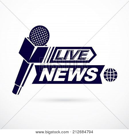 Live reportage conceptual logo vector illustration created with microphones equipment and live news writing.