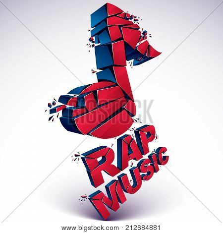 Red 3d vector shattered musical note with specks and refractions. Dimensional facet design music demolished symbol. Rap music theme.