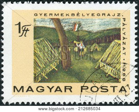HUNGARY - CIRCA 1968: Postage stamp printed in Hungary devoted to the 50 Years of Hungarian Communist Party shows a child's drawing of