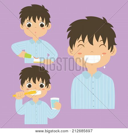 a boy putting a toothpaste on a toothbrush, a boy brushing his teeth and a boy smiling happily showing his clean teeth. cartoon vector collection
