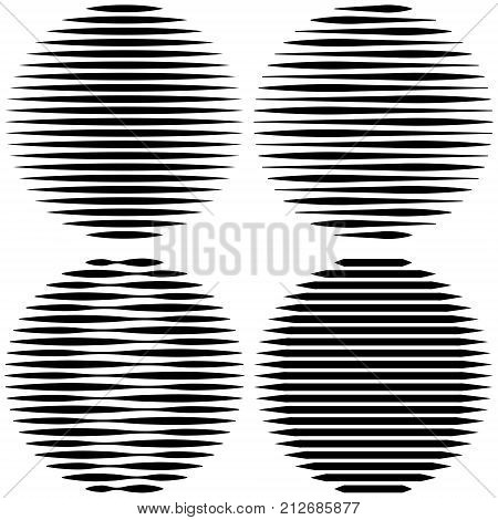 set Circle Logo with lines unusual icon Design, Vector horizontal stripes Geometric shape, the effect of refraction, the refraction of light, pop art design
