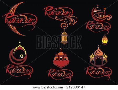 Set of emblems for islamic holy holiday Ramadan. Ramadan Kareem calligraphy. Ramadan traditions.