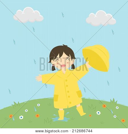 little girl in raincoat holding her rain hat happily playing under the rain, cartoon vector illustration.