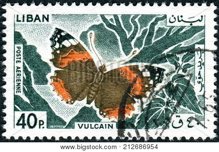 Lebanon - Circa 1965: A Postage Stamp Printed In Lebanon Shows A Butterfly The Red Admiral (vanessa