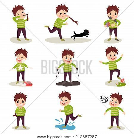 Cartoon character of naughty kid. Shooting with slingshot, torturing animals, making mess, playing in mud, jumping on puddle, talking dirty words. Trouble boy. Bad behavior. Flat vector illustration.