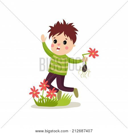 Little bully kid jumping on green lawn and treading flowers. Colorful cartoon hoodlum boy with crazy hair character in flat style. Trouble child. Vector illustration isolated on white background.