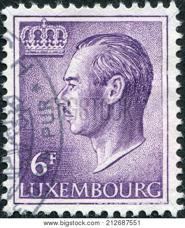 LUXEMBOURG - CIRCA 1965: A stamp printed in Luxembourg shows Grand Duke Jean of Luxembourg circa 1965