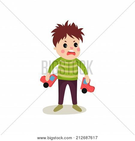 Bad boy with frustrated facial expression holding broken toy car in his hands. Cartoon trouble child character in green sweater and pants. Mischievous kid. Flat vector illustration isolated on white.