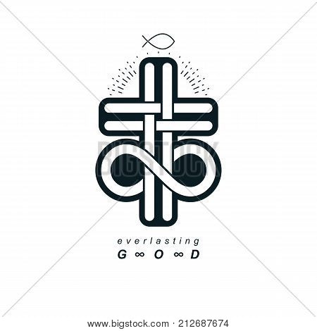Everlasting Christian Belief in God vector creative symbol design combined with infinity endless loop and Christian Cross vector logo or sign.