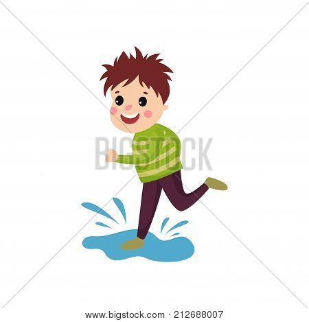 Mischievous little boy jumping on puddle. Cartoon character of playful child with disheveled hair, face showing happy emotion. Trouble kid. Flat vector illustration isolated on white background.