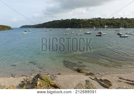 View out to sea from Helford Passage village west Cornwall England UK located on Helford