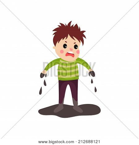 Sad boy in soiled clothes with disheveled hair and dirty hands standing in mud puddle. Bad kid behavior concept. Cartoon character of naughty child. Flat style vector illustration isolated on white.