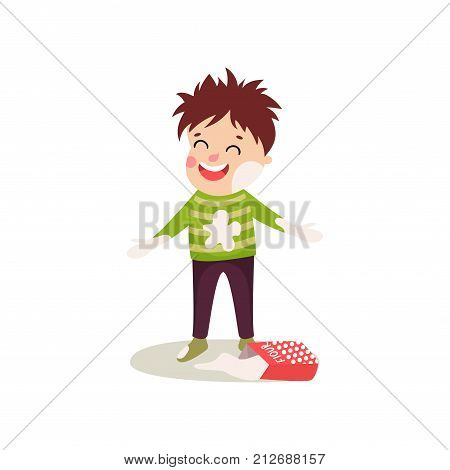 Happy misbehaving boy playing with flour and making mess. Cartoon naughty kid character in soiled clothes, face showing happy emotion. Childish vector illustration in flat style isolated on white.