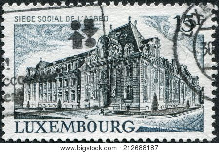 LUXEMBOURG - CIRCA 1971: A stamp printed in Luxembourg shows ARBED Steel Corporation Headquarters Luxembourg circa 1971